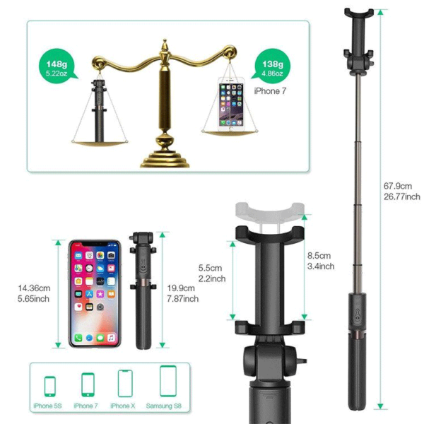 3 in 1 Bluetooth Tripod Selfie Stick
